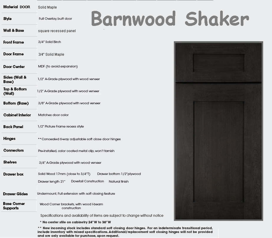 barnwood kitchen cabinets specs