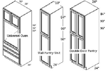 tall cabinets pantry and oven cabs